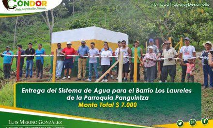 ENTREGA DE SISTEMA DE AGUA BARRIO LOS LAURELES DE LA PARROQUIA PANGUINTZA.