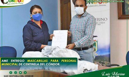 AME ENTREGO MASCARILLAS PARA PERSONAL MUNICIPAL DE CENTINELA DEL CÓNDOR.