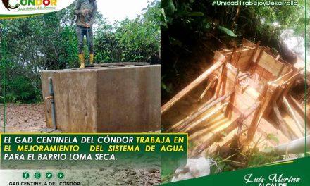 El GAD CENTINELA DEL CÓNDOR TRABAJA EN EL MEJORAMIENTO DEL SISTEMA DE AGUA PARA EL BARRIO LOMA SECA.