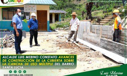 ALCALDE LUIS MERINO CONSTATO AVANCES DE CONSTRUCCIÓN DE LA CUBIERTA SOBRE LA CANCHA DE USO MÚLTIPLE DEL BARRIO SANTA LUCIA.