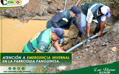 ATENCIÓN A EMERGENCIA INVERNAL EN LA PARROQUIA PANGUINTZA.